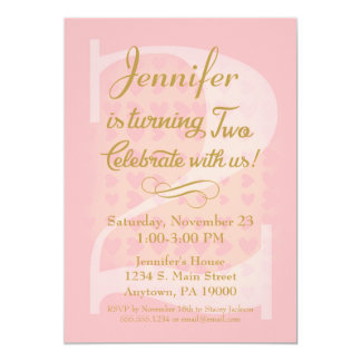 2nd Birthday Invitation Girls Pink Gold Hearts