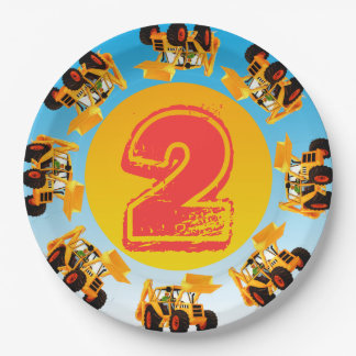 2nd Birthday Kids Digger Construction Party 9 Inch Paper Plate