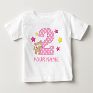 2nd Birthday Kitty Cat Girl Personalized T-shirt