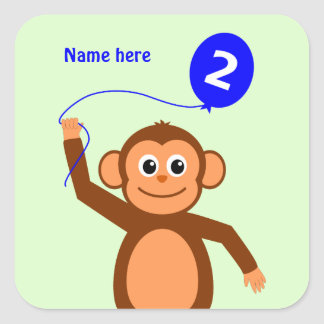 2nd birthday monkey add name blue square sticker
