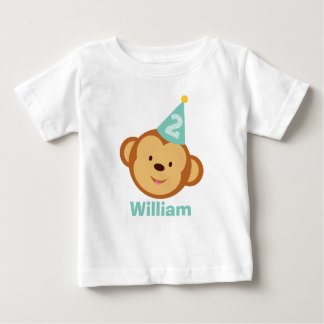 2nd Birthday Monkey Boy with Personalized Name Baby T-Shirt