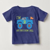 2nd Birthday Monster Truck Baby T-Shirt