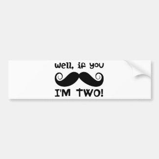 2nd Birthday Mustache Bumper Sticker