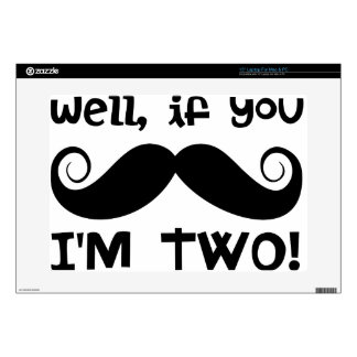 """2nd Birthday Mustache Decal For 15"""" Laptop"""