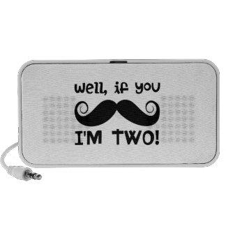 2nd Birthday Mustache Mini Speakers