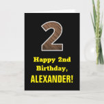 "[ Thumbnail: 2nd Birthday: Name, Faux Wood Grain Pattern ""2"" Card ]"