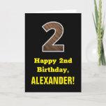 "[ Thumbnail: 2nd Birthday: Name, Faux Wood Grain Pattern ""2"" Card ]"