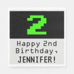 "[ Thumbnail: 2nd Birthday - Nerdy / Geeky Style ""2"" & Name Napkins ]"