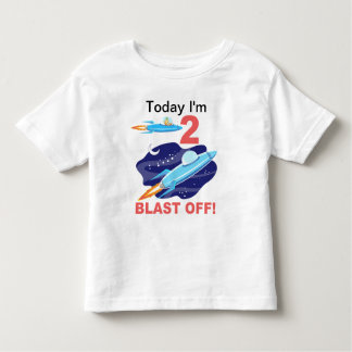 2nd Birthday Outer Space Ship Toddler T-shirt