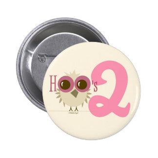 2nd Birthday Owl Button Toddler Birthday Girl