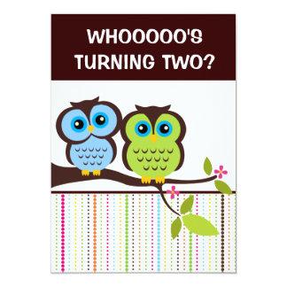 2nd Birthday Owl Theme Party Invitations