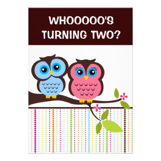 2nd Birthday Owl Theme Party Invitations