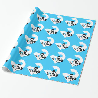 2nd Birthday PANDA Two Year Old Custom Boy Name 2 Wrapping Paper