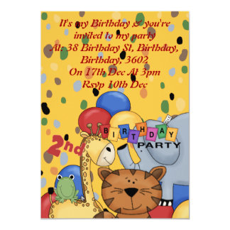 2nd Birthday Party 5x7 Paper Invitation Card