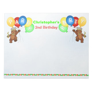 2nd Birthday Party Bear Games Notepad