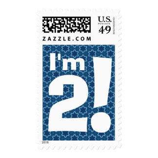 2nd Birthday Party Big Bold White and Blue Stars Postage Stamp