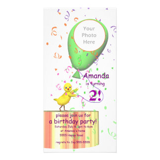 2nd Birthday Party Chicken Invite Green Balloon Photo Greeting Card