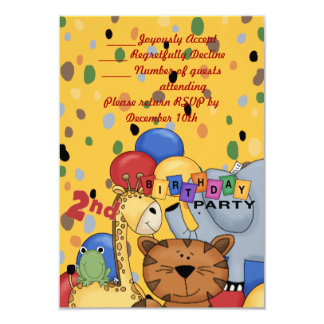 "2nd Birthday Party 3.5"" X 5"" Invitation Card"