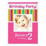 2nd Birthday Party Invitations Fun Neon GIRL