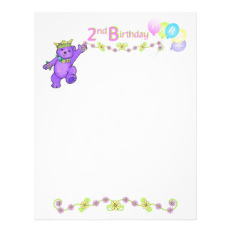 "2nd Birthday Party Princess Bear Scrapbook Paper 2 8.5"" X 11"" Flyer"