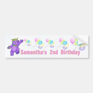 2nd Birthday Party Purple Princess Bear Bumper Sticker