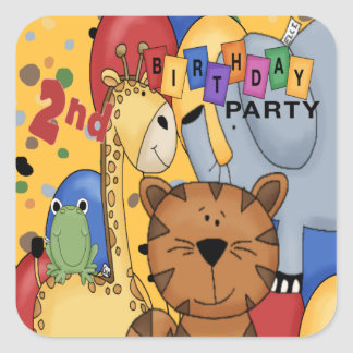 2nd Birthday Party Square Sticker