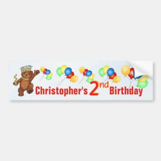 2nd Birthday Party Teddy Bear Prince Bumper Sticker