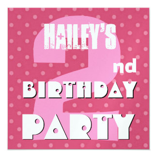 2nd Birthday Party Two Years Pink Polka Dots W640 Card