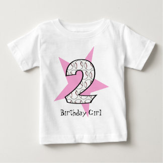 2nd Birthday Pink Baseball Star T-Shirt
