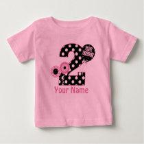 2nd Birthday Pink Black Personalized T-shirt
