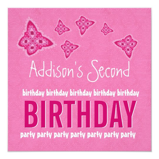 2nd Birthday Pink Flowers Girl Custom Name Card