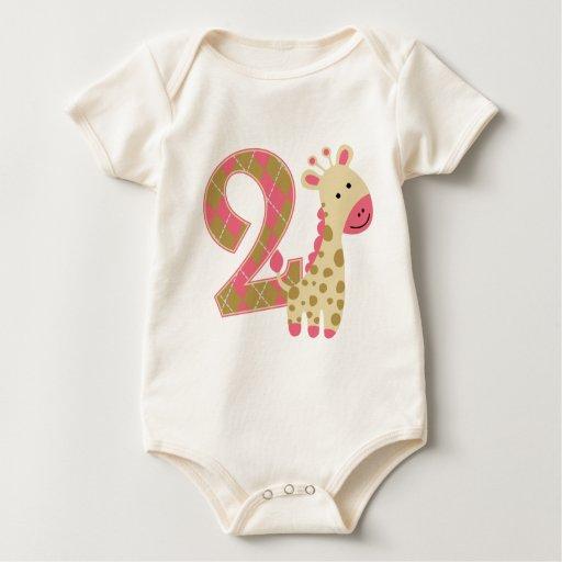 2nd Birthday Pink Giraffe Baby Bodysuits