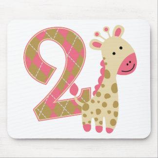 2nd Birthday Pink Giraffe Mouse Pad