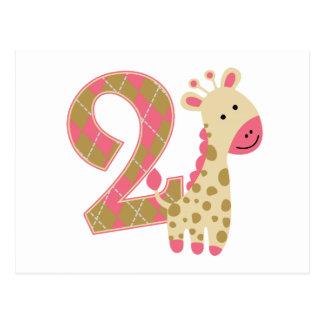 2nd Birthday Pink Giraffe Post Cards