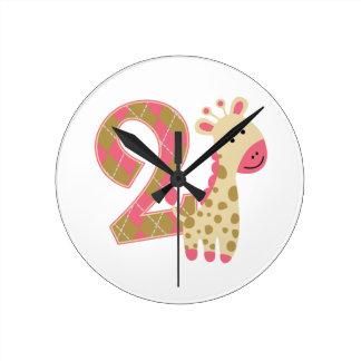 2nd Birthday Pink Giraffe Round Clock