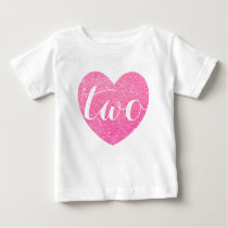 2nd Birthday Pink Glitter Heart-Print Personalize Baby T-Shirt
