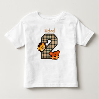2nd Birthday Pink Plaid Tiger Lion 2 Year Old V3 Toddler T-shirt
