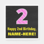 "[ Thumbnail: 2nd Birthday: Pink Stripes and Hearts ""2"" + Name Napkins ]"
