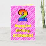 [ Thumbnail: 2nd Birthday: Pink Stripes & Hearts, Rainbow # 2 ]