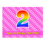 [ Thumbnail: 2nd Birthday: Pink Stripes & Hearts, Rainbow 2 Postcard ]