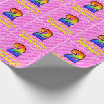 [ Thumbnail: 2nd Birthday: Pink Stripes & Hearts, Rainbow # 2 Wrapping Paper ]