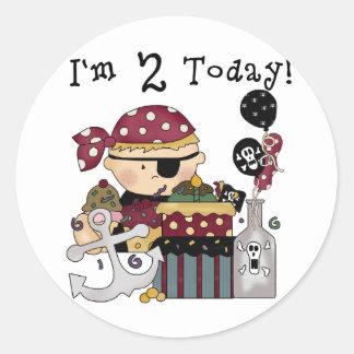 2nd  Birthday Pirate Tshirts and Gifts Classic Round Sticker