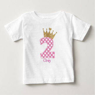 2nd Birthday|Polka Dots|Glitter-Print Crown Baby T-Shirt