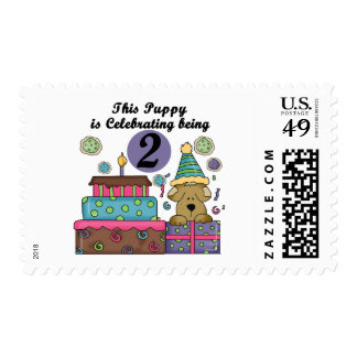 2nd Birthday Puppy Tshirts and Gifts Stamps