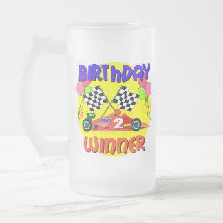 2nd Birthday Race Car Birthday 16 Oz Frosted Glass Beer Mug