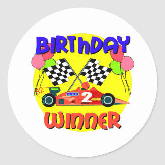 2nd Birthday Race Car Birthday Round Sticker