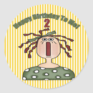 2nd Birthday Rag Doll Classic Round Sticker