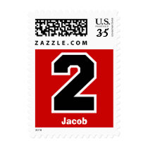 2nd Birthday RED and BLACK Big Number A01 Postage