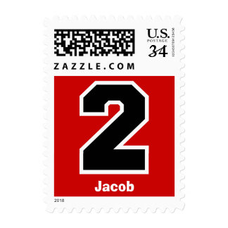 2nd Birthday RED and BLACK Big Number A01 Postage Stamps