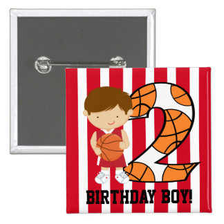 2nd Birthday Red and White B Button